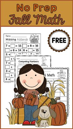 Fall Math Freebie for second grade--missing addends, mental math, and comparing numbers