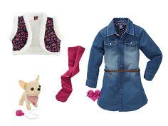 """Unser Jeanskleid von """"Kiki & Koko"""" kombiniert mit Weste (€ 4,99), Strumpfhose (€ 2,99) und natürlich mit Hund (€ 12,99)."""