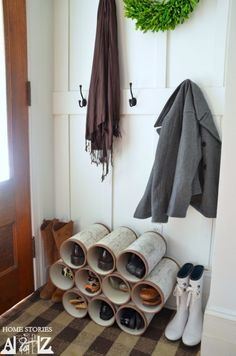 PVC Pipe Shoe Organizer Need extra space to store your shoes? This cute PVC pipe shoe organizer is an easy DIY and will look fantastic in your hallway. Check out the DIY instructions. Diy Shoe Rack, Shoe Storage, Storage Ideas, Shoe Racks, Storage Solutions, Pvc Pipe Storage, Towel Storage, Bed Storage, Bathroom Storage