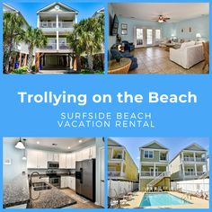 Trollying on the Beach is a five-bedroom, five-and-a-half-bath third row home located 1 mile north of Surfside Pier and a short minute walk to the beach. Sleeping accommodations include two king, three queen, and one double-sized bed. Outdoor amenities include a private swimming pool with pool furniture, covered porch, and enclosed shower with hot and cold water, picnic table.