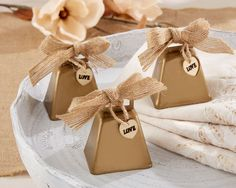 Country Charm Cowbell Kissing Bell (Set of 6) (Kate Aspen 12020NA) | Buy at Wedding Favors Unlimited (http://www.weddingfavorsunlimited.com/countrycharm_cowbell_kissing_bell_set_of_6.html).