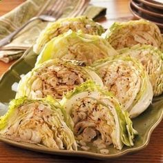 Grilled Cabbage 1 medium head cabbage 1/3 cup butter, softened 1/4 cup chopped onion 1/2 teaspoon garlic salt 1/4 teaspoon pepper Cut cabbage into eight wedges; place on a double thickness of heavy-duty foil. Spread cut sides with butter. Sprinkle with onion, garlic salt and pepper. Fold foil around cabbage and seal tightly. Grill, covered, over medium heat for 20 minutes or until tender.
