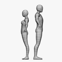 female male 3d model - Low Poly Base Mesh-Female/Male... by Cyfus
