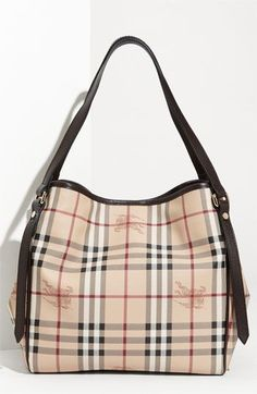 Burberry 'Haymarket Check' Tote – added to my wishlist! Thought this tote was just okay, until I tried it on and carried it! Top 5 HG bags, hands down! #BurberryBags