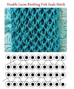 Double loom knitting fish scale stitch by Theresa Higby.
