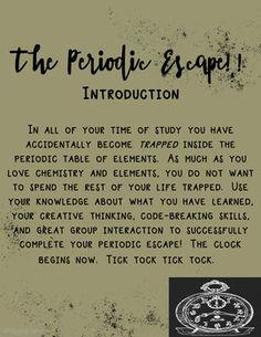 Escape the Room - Periodic Table
