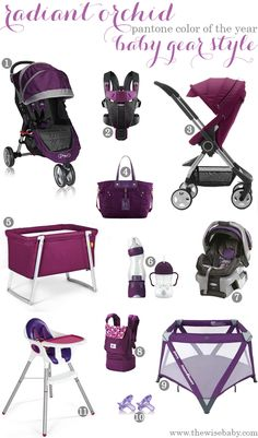 Pantone Color of the Year, Radiant Orchid- Baby Gear style
