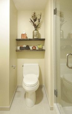 Toilet rooms on pinterest toilet room floating shelves - How to decorate a water closet ...