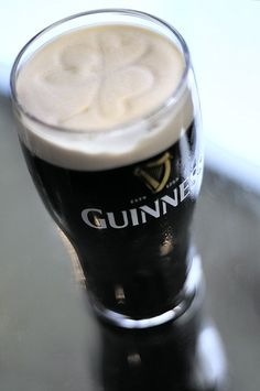 Clover in a head of Guinness.