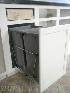 Pull Out Trash Bin In Cabinet..love This Idea For Recycling Plastic And · Under  SinkTrash ...