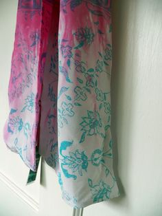 Hand dyed and screen printed blue and pink silk scarf with ethnic pattern by Holly Eden