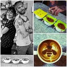 Behind the scenes creating the IBM #logo #latteart for #Instagram. Photo credit: Kevin Winterfield, latte art by baristas at Peekskill Coffee House in New York