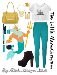 The Little Mermaid: King Triton by taylormarieallen on Polyvore featuring polyvore, fashion, style, WearAll, Charlotte Russe, Anne Klein, Anna Field, BaubleBar, Kenneth Jay Lane, Clinique, Manic Panic, Moroccanoil, Essie and Disney