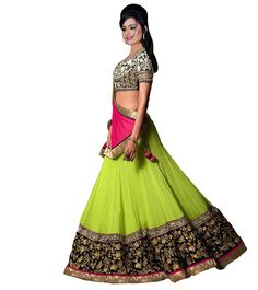 Green #Embroidered #Georgette and #Net #Lehenga at #Indianroots