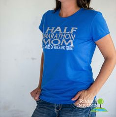 HALF MARATHON MOM T-shirt, Performance Short Sleeve Ladies' or Unisex Fit Sparkly Glitter T-Shirt, Create your Own