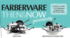 """NOTE: This may not work from mobile devices such as tablets and phones. Head over to Farberware's Facebook page, like it and enter their Then & Now Giveaway for a chance to win 1 of 2 grand prize cookware sets or 1 of 4 open stock bonus prizes! It says to """"pin"""" the cookware set you'd like to win, but this is optional. Prizes include: (2) Grand Prizes: Classic Series 10-Piece Set OR High Performance Stainless Steel 12-Piece Set (4)  {Read More}"""
