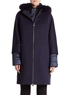 Cinzia Rocca - Fur-Trimmed Hooded Puffer & Wool Jacket
