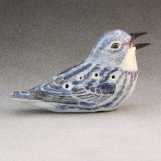 10 hole OcarinaCerulean Warbler in Porcelain by Birdartist on Etsy,