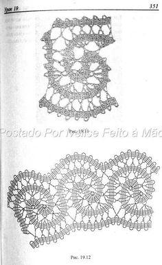 Ivelise Hand Made: Income Bruges . Crochet Lace Edging, Crochet Diagram, Freeform Crochet, Crochet Chart, Irish Crochet, Crochet Doilies, Crochet Stitches, Bruges Lace, Bobbin Lace Patterns
