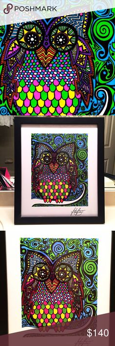 """Original abstract multicolor owl art print Original abstract multicolor owl art print by artist Jackie Buono from Virginia. The art comes in a black trim glass-enclosed frame. It was created using prismacolor markers. The work is signed by the artist. Colors of the work best match the first photo (lighting makes it hard to capture the true brightness of the colors). The dimensions are 17"""" by 20"""" (including the frame). Last print if the series in stock! Other"""