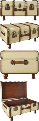 Stateroom Trunk Coffee Table Travel Steamer Chest MF040 Authentic Models NEW