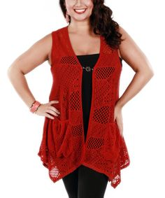 Look what I found on #zulily! Red Sheer Crochet Toggle Vest - Plus by Lily #zulilyfinds