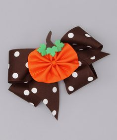 Take a look at this Brown Polka Dot Bow & Orange Pumpkin Clip by Picture Perfect Hair Bows on #zulily today!