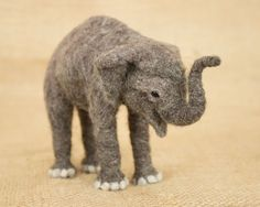 Kara the Baby Asian Elephant: Needle felted animal sculpture by The Woolen Wagon