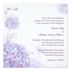 We've already had a post covering blue hydrangea themed invites, so in today's post we're going to show you some beautiful purple hydrangea wedding invitations for those who prefer a purple theme. Monogram Wedding Invitations, Watercolor Wedding Invitations, Floral Invitation, Wedding Invitation Design, Wedding Stationery, Invites, Purple Hydrangea Wedding, Floral Wedding, Purple Hydrangeas