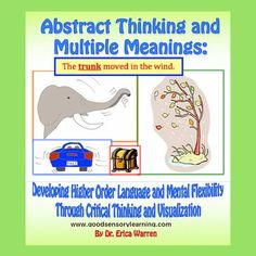 Improve Abstract Thinking | Language Arts - Higher Level Language - This 58-page workbook, which is available as a PDF digital download, offers an innovative and multisensory approach to learning higher-level language and reasoning. Students work with abstract and concrete nouns as well as with words that have multiple meanings. They also critically analyze similes and metaphors in creative ways. #abstractingthinking #higherorderthinking #multiplemeanings Concrete Nouns, Similes And Metaphors, Higher Order Thinking, Teaching Language Arts, Figurative Language, Help Teaching, Dyslexia, Student Work, Critical Thinking