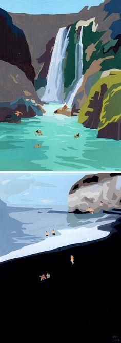 Swimming Paintings by Joanne Ho | gouache painting | summer art | swimming artwork