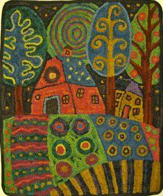 Delightful whimsical hooked rug designed based on Karla Gerard painting: