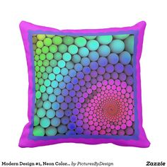 Modern Design #1, Neon Colors on Hot Pink Throw Pillow