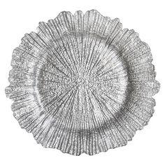 Silver Glass Flower Charger. Weinhardt Party Rentals.
