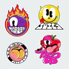Fruit sticker inspired stickers 😜🍎🍋🍌 which one are you? - I'm the tart 🤓🍎💋🤸🏼♀️ (at Fruit & Veg Party). Japon Illustration, Graphic Design Illustration, Graphic Art, Vaporwave Art, Elements Of Art, Kawaii, Sticker Design, Collage Art, Cute Art