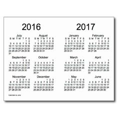 small year at a glance calendar