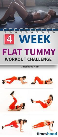 4 Week Abs workout challenge. Flat tummy workout plan. Do these exercise for abs and flat tummy. Checkout workout for flat tummy and abs. https://timeshood.com/flat-belly-workout-plan/
