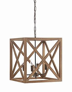 "Amazon.com: Creative Co-Op Metal and Wood Chandelier, 15.75"" Square by 17.75"" Height: Home & Kitchen"