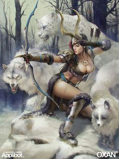 Female warrior and wolves