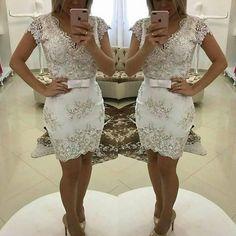 82565aa41 VESTIDO BRANCO BORDADO COM PEDRARIA E LAÇO Renda Bordada Com Pedrarias, Vestido  De Noiva Civil. Livia Fashion Store
