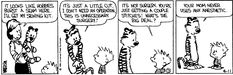 Calvin & Hobbes. April 11, 1986. funny I think of this when I stitch up the boys snugglies!!!