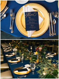 Amanda + Adam {Lang Thomas Photography, Jaclyn Journey, Couture Closet} | Wedding Row Kentucky, gold and navy wedding table setting