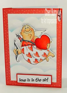 "Art Impressions Rubber Stamps: ""Val Set""...handmade cupid Valentine's Day card. Love is in the air!"
