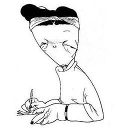 Caricatura de Simone de Beauvoir porCássio Loredano. Do livroEscritores por Loredano (Instituto Moreira Salles).