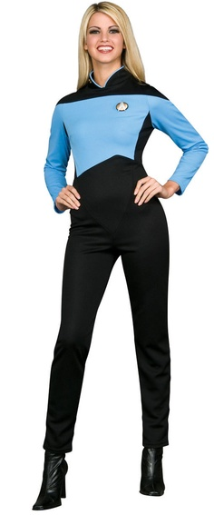 How do I get through my awkward adulthood? When I go to a Halloween party, I look for the woman in the TNG Science Jumpsuit. Then I know I'm meeting someone with brains, beauty, and fashion sense. Costume includes jumpsuit, pips, and communicator pin.