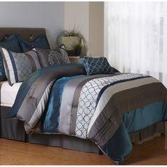 Nanshing America, Inc Avalon 8 Piece Comforter Set Size: California King Queen Comforter Sets, Bedding Sets, Teal Bedding, Blue Comforter Sets, Bedroom Furniture, Bedroom Decor, Master Bedroom, Furniture Decor, Bedroom Ideas