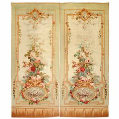 Pair of Aubusson Entre Fenetres tapestries  France | From a unique collection of antique and modern tapestries at https://www.1stdibs.com/furniture/wall-decorations/tapestry/