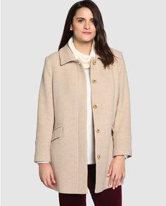 Abrigo corto de mujer talla grande Talla y Moda en color beige Moda Online 41ec8f199795