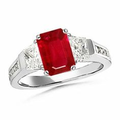 Angara Three Stone Emerald-Cut Ruby and Diamond Ring in White Gold