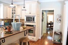From Yellow to Blue: a Kitchen Transformation - Unskinny Boppy Julie's Kitchen, Kitchen Dinning, Kitchen Decor, Kitchen Design, Kitchen Ideas, Kitchen Island, Dining, Painting Kitchen Cabinets, Kitchen Cabinetry